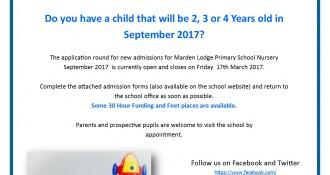 Marden Nursery Admissions September 2017